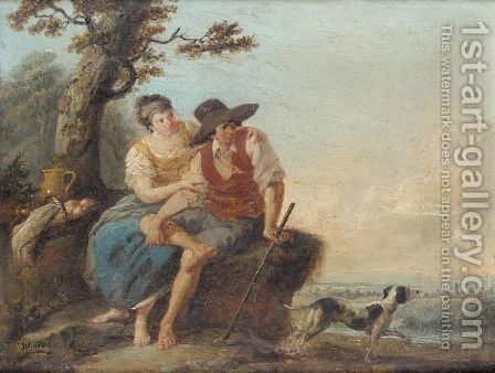 A pastoral landscape with a dairymaid, a shepherd and his dog by (after) Louis-Joseph Watteau - Reproduction Oil Painting