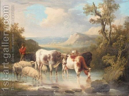 Cattle and sheep watering by Dutch School - Reproduction Oil Painting