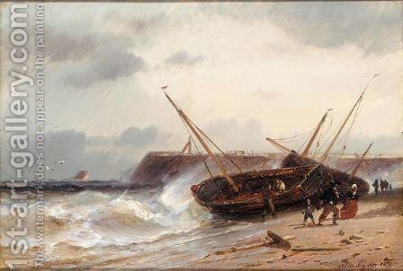 Beach boats threatened by heavy seas by Charles Euphraisie Kuwasseg - Reproduction Oil Painting