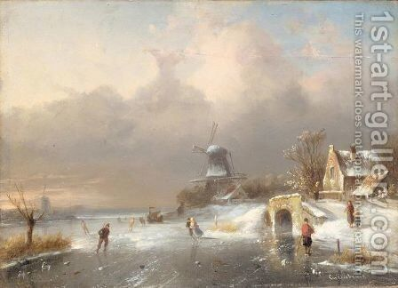 Figures skating on a leke with a windmill in the background by (after) Charles Leickert - Reproduction Oil Painting