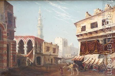 Arab Street scene by (after) Theodore Rousseau - Reproduction Oil Painting