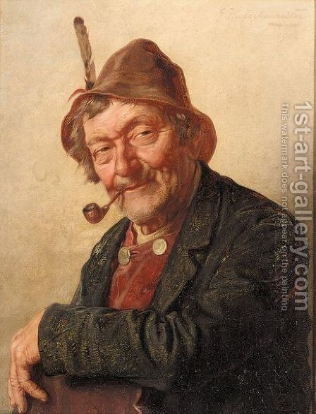 The pipe smoker by Hugo Kotschenreiter - Reproduction Oil Painting