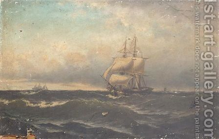 Shipping in choppy waters by Danish School - Reproduction Oil Painting