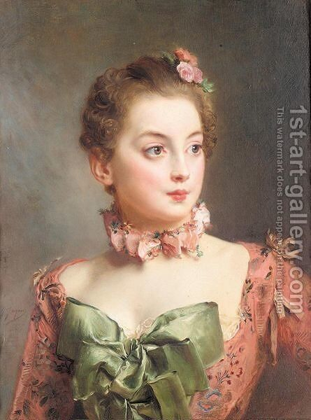 Portrait of a lady 3 by Gustave Jean Jacquet - Reproduction Oil Painting
