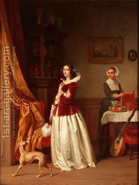 The lady of house by Hendrick Joseph Dillens - Reproduction Oil Painting
