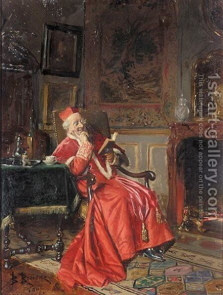 A good read by Bernard Louis Borione - Reproduction Oil Painting