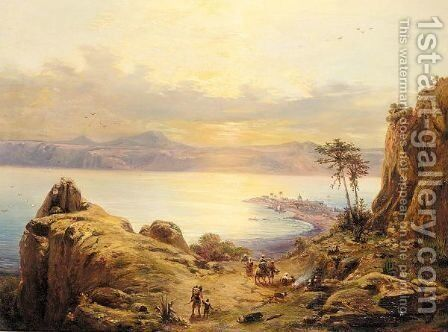 Bay of kitts with nevis island in the distance by Continental School - Reproduction Oil Painting