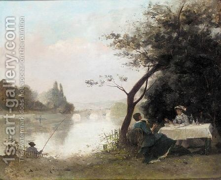 Riverside lunch by Gustave Maincent - Reproduction Oil Painting