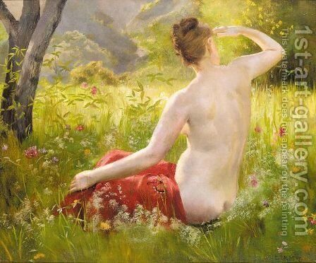 Nude in a summer landscape by Emile Louis Foubert - Reproduction Oil Painting