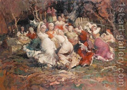 Peasants dancing 2 by Continental School - Reproduction Oil Painting