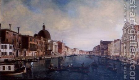 A View Of The Grand Canal, Venice, With The Church Of The San Simeone Piccolo On The Left And The Scalzi On The Right by (after) (Giovanni Antonio Canal) Canaletto - Reproduction Oil Painting