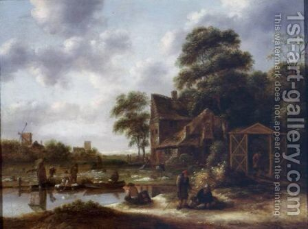 Figures In A Landscape With A Bleaching Field by Claes Molenaar (see Molenaer) - Reproduction Oil Painting