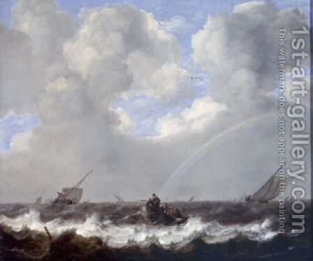 A Seascape With Fishermen In A Rowboat And Other Sailing Vessels In A Choppy Sea, A Rainbow On The Horizon by Jan Porcellis - Reproduction Oil Painting