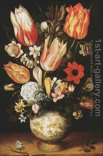 Tulips, Roses, Narcissi, Daffodils, Crocuses, An Iris, A Poppy And Other Flowers In A Gilt-Mounted Porcelain Vase On A Ledge, With A Queen Of Spain Fritillary, A White Ermine And A Magpie Butterfly by Christoffel van den Berghe - Reproduction Oil Painting