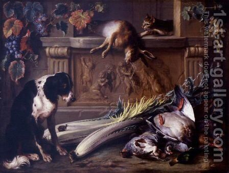 Still Life With Game, A Dog, A Cat And A Hare On A Table Decorated With A Bas Relief By Francois Duquesnoy by Alexandre-Francois Desportes - Reproduction Oil Painting