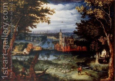 A Wooded River Landscape With A Manor House By A Village, A City Beyond by (after) Balthasar Lauwers - Reproduction Oil Painting