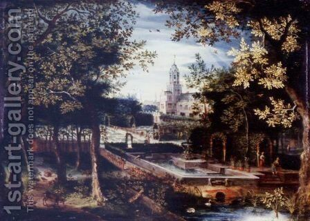 Wooded Landscape With Animals And Huntsmen, A Manorhouse And Gardens Beyond by (after) Balthasar Lauwers - Reproduction Oil Painting