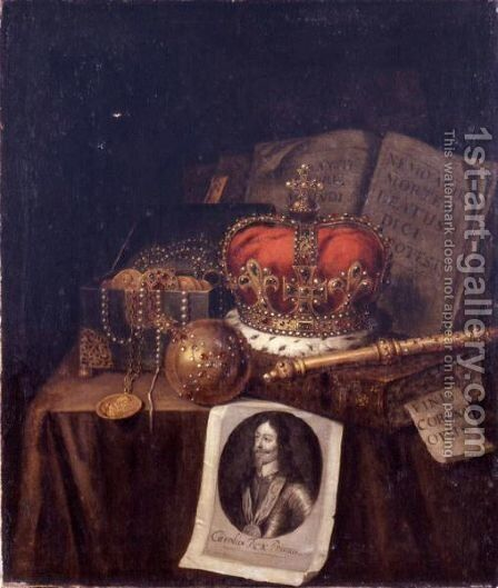 A Vanitas Still Life Of A Crown, An Orb, A Sceptre, A Casket Of Coins And Jewels, Together With Books And An Engraving Of Charles I Of England, All Arranged On A Draped Table by Edwart Collier - Reproduction Oil Painting