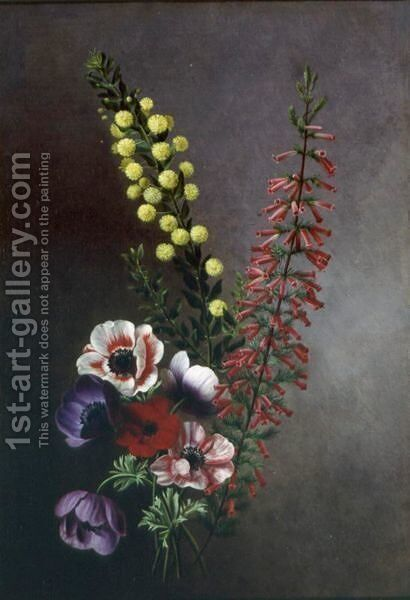 A Study Of Anemones,veronica And Other Flowers by Antoine Chazal - Reproduction Oil Painting