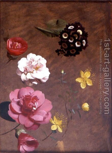 A Study Of Primulas, Camellias And Prunus by Antoine Chazal - Reproduction Oil Painting