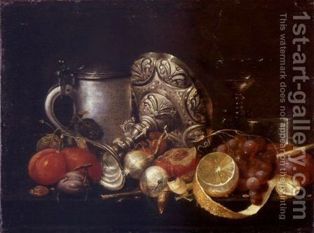 Still Life With A Pipe And Tumbler by (after) Guilliam Van Deynum - Reproduction Oil Painting