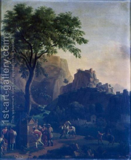 Francois I At The Fountain Of Vaucluse by Jean-Joseph-Xavier Bidauld - Reproduction Oil Painting