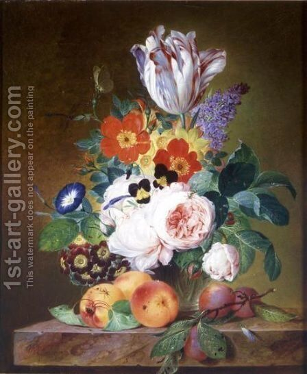 Flowers In A Vase by Theodor Mattenheimer - Reproduction Oil Painting
