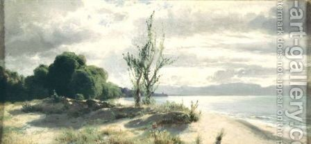 View Of The Lake Of Geneva, Near Evian by Alexandre Calame - Reproduction Oil Painting