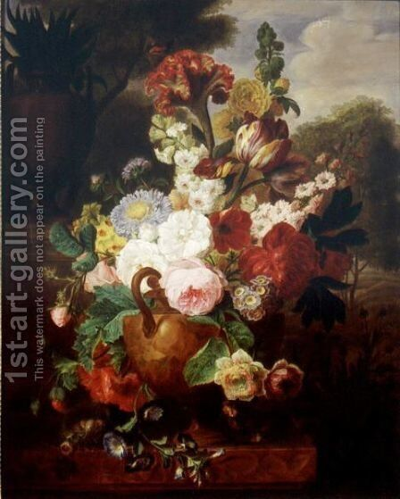 Still Life Of Flowers In An Urn Resting On A Marble Ledge With A Bird's Nest, A Landscape Beyond by Cornelis van Spaendonck - Reproduction Oil Painting