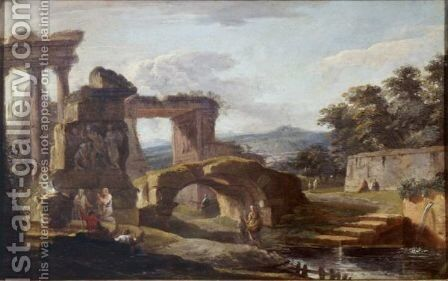 Landscape With Antique Ruins By A River by Hubert Robert - Reproduction Oil Painting