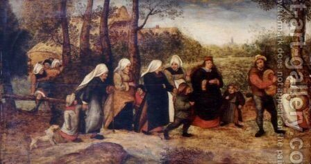 Wedding Procession by Marten Van Cleve - Reproduction Oil Painting