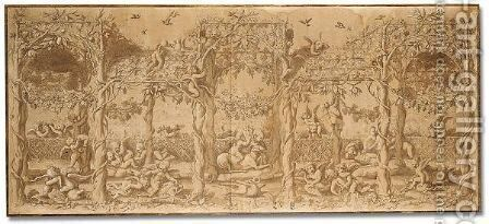 Putti playing under a pergola by (after) Giulio Pippi, Called Giulio Romano - Reproduction Oil Painting