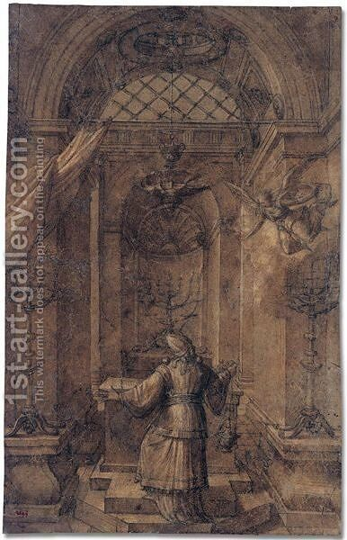 The annuciation to Zacharias in the temple by (after) Fontainebleau - Reproduction Oil Painting