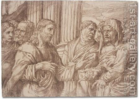 Render unto Ceasar what is Ceasar's by Domenico Campagnola - Reproduction Oil Painting