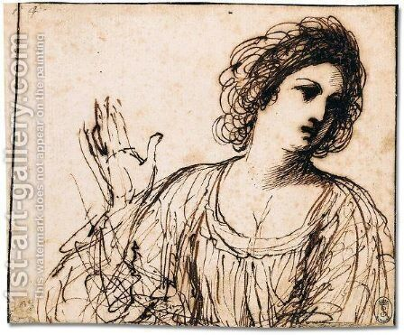 Study of a young woman by Giovanni Francesco Guercino (BARBIERI) - Reproduction Oil Painting