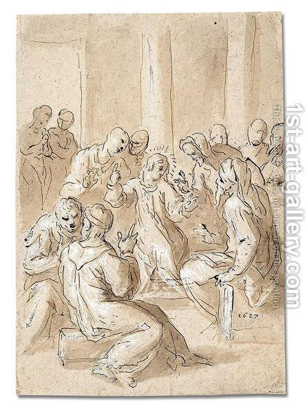 Christ disputing with the doctors by Jacopo d'Antonio Negretti (see Palma Giovane) - Reproduction Oil Painting