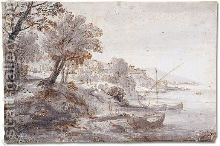 Boats on a river by Caspar Andriaans Van Wittel - Reproduction Oil Painting
