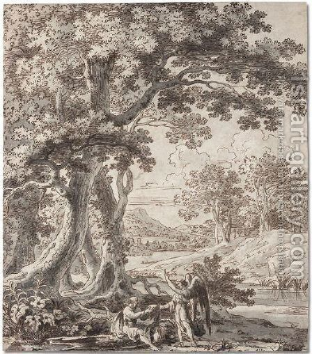 Wooded river landscape with the angel appearing to Elijah by Herman Van Swanevelt - Reproduction Oil Painting