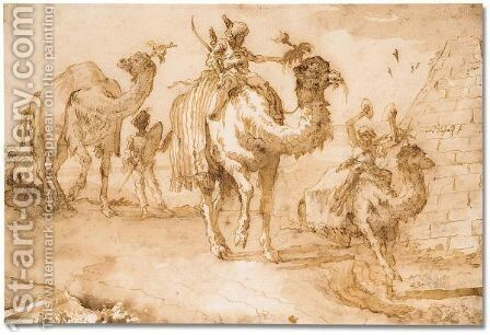 Orientals riding camels near a pyramid by Giovanni Domenico Tiepolo - Reproduction Oil Painting