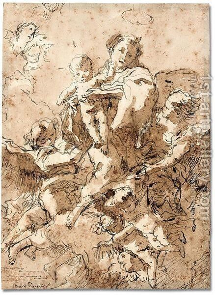 St. Anthony of Padua with the Christ child in glory with angels by Giovanni Domenico Tiepolo - Reproduction Oil Painting