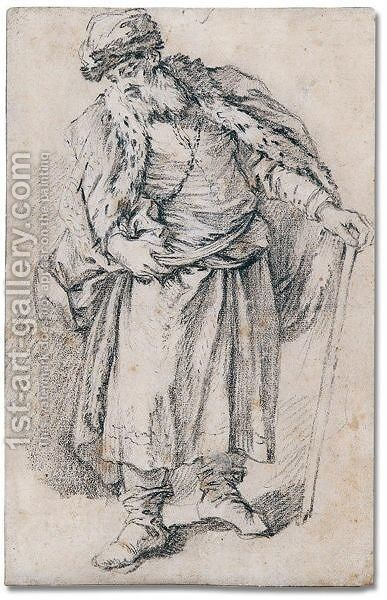 A russian peasant by Jean-Baptiste Le Prince - Reproduction Oil Painting