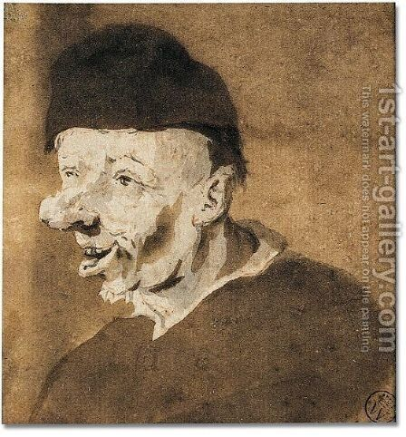 Study of an old man in hat by Cornelis Dusart - Reproduction Oil Painting