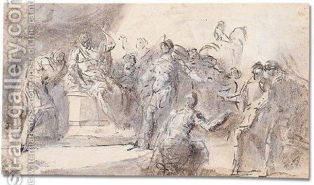 A classical scene of judgment by Domenico Mondo - Reproduction Oil Painting