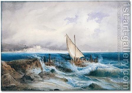 A boat caught in strormy waters near the shore by Alexandre Calame - Reproduction Oil Painting