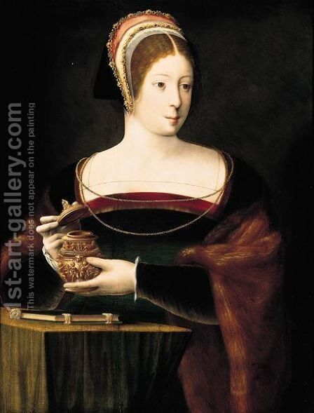 The Magdalene, Half-Length, Holding A Jar Of Unguent by Belgian Unknown Masters - Reproduction Oil Painting