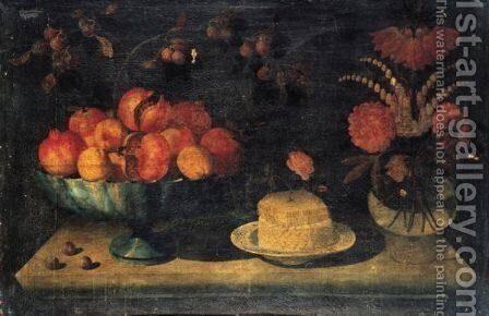 Still Life Of A Bowl Of Pomegranates And Peaches, Together With A White Cheese With A Honeycomb And Rose On A Porcelain Dish by The Pseudo-Hiepes - Reproduction Oil Painting