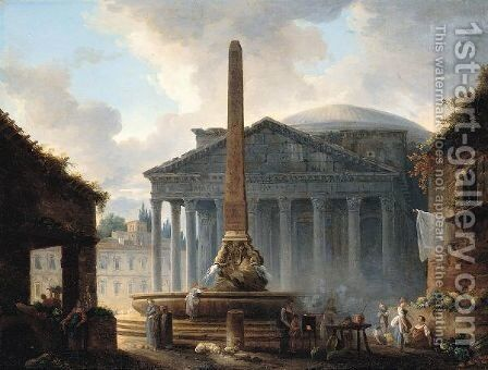 Rome, A View Of The Piazza Della Rotonda With The Pantheon And Figures Before The Obelisk Fountain by Hubert Robert - Reproduction Oil Painting