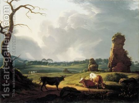 A View Of The Roman Campagna With Cattle Grazing And A Storm Approaching by Hendrik Voogd - Reproduction Oil Painting