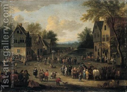 A Crowded Village Scene With Numerous Villagers And Animals by Adriaen Frans Boudewijns - Reproduction Oil Painting
