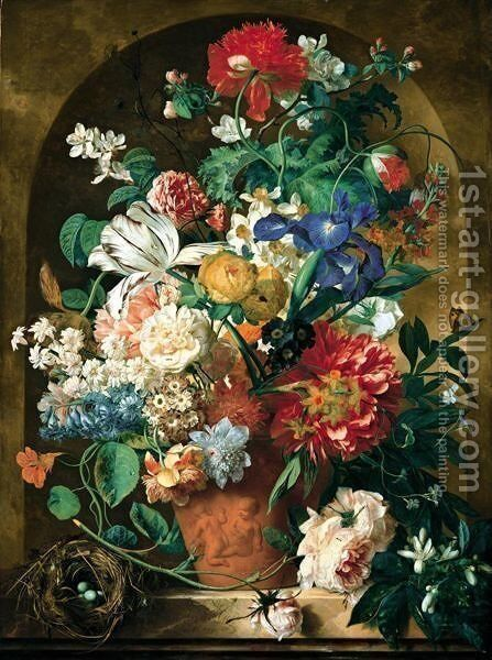 A Still Life Of Flowers In A Terracotta Vase Upon A Marble Ledge Before A Niche by Jan Van Huysum - Reproduction Oil Painting